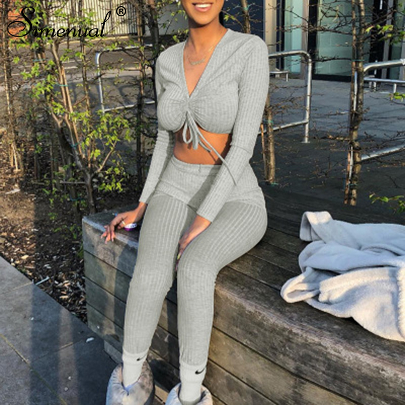 Simenual Casual Ribbed Solid Women Matching Sets Sporty Active Wear Fashion 2 Piece Outfits V Neck Long Sleeve Top And Pants Set