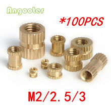 100pcs M2 M2.5 M3 Through thread brass insert nut/Brass insert nut/knurled thumb nut/knurled nuts for injection moulding/(China)