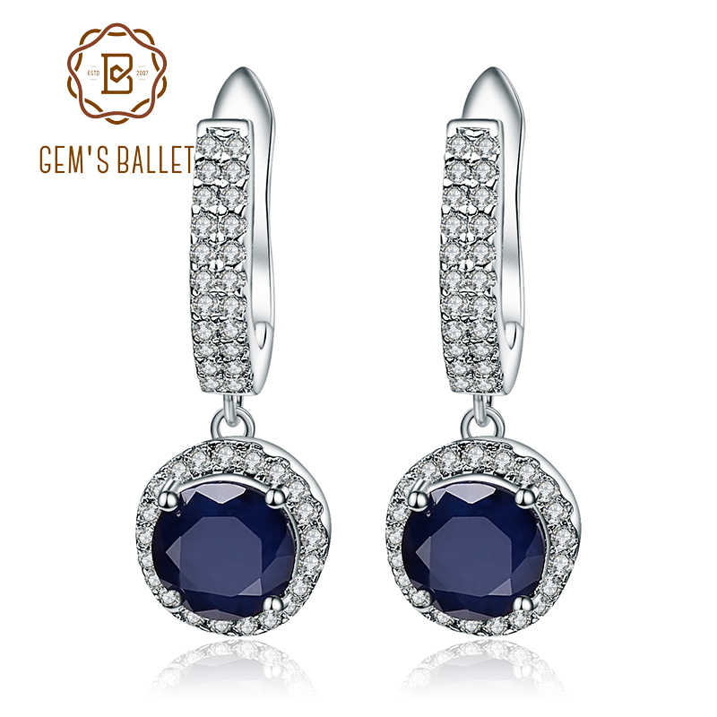 Permata Ballet Natural Blue Sapphire Murni 925 Sterling Silver Pesona Drop Anting-Anting Perhiasan untuk Wanita Vintage Fashion