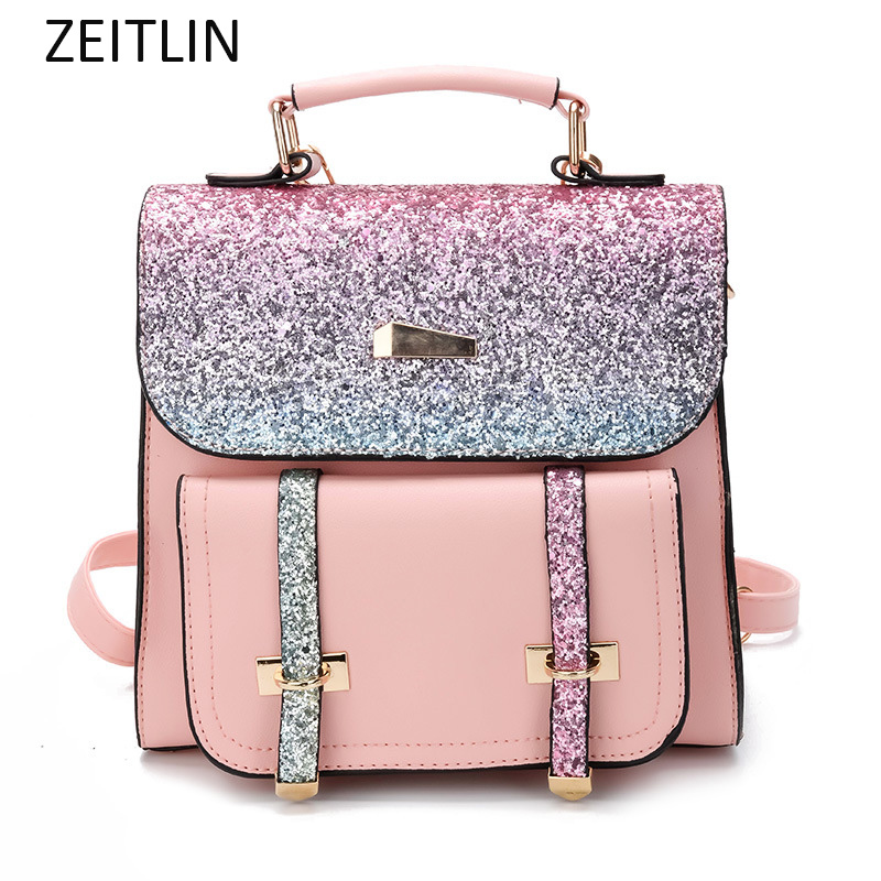 PU Leather Women Back pack Sequins Small Backpack For Girls Female Wild leisure Shoulder Bag 2018 Summer Fashion sac a main S415 ...