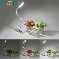 3 Mode Flexible Table Touch Light Desk Lamp With Clip Fixtures Book Reading Lamp White 14