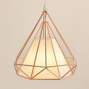 Image 3 - Single Head Diamond Shape Iron Material Ceiling Lamp Decoration Lamp No Bulb Included(Rose Gold)