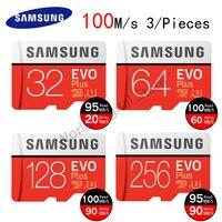סמסונג כרטיס זיכרון 32 GB 64 GB 128 GB 256 GB 100 Ms U3 Class10 UHS-1 מיקרו SD פלאש EVO בתוספת כרטיס TF עבור טלפון חכם 3 חתיכות