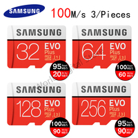 SAMSUNG Memory Card 32GB 64GB 128GB 256GB 100Ms Class10 U3 UHS 1 Flash Micro SD