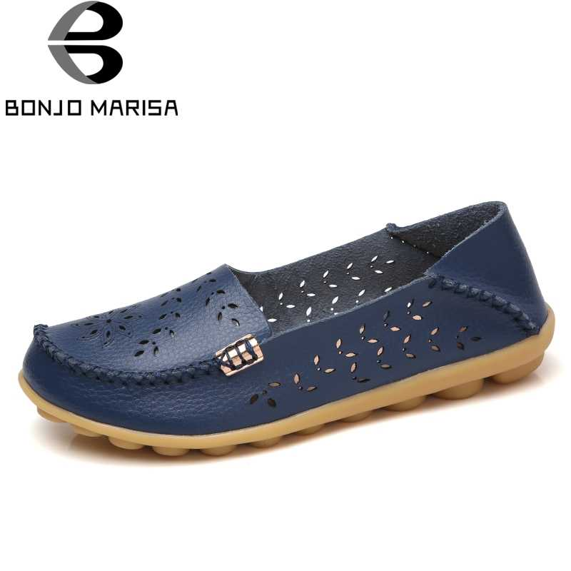 04c751bb6ce BONJOMARISA Big Size 35-44 Women Summer Loafers Autumn Flat Shoes Woman Slip  On Ballet
