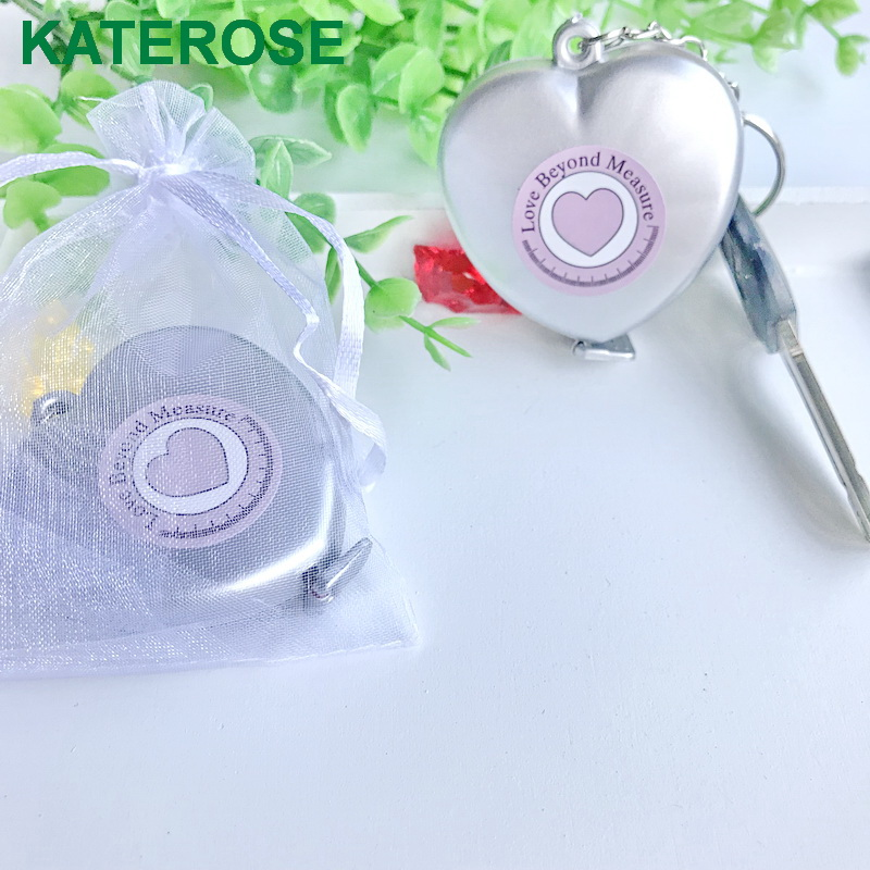 (600pcs/LOT)FREE SHIPPING+Love Beyond Measure Measuring Tape Key Chain Round/Heart Shaped Portable Keychain Wedding Favors