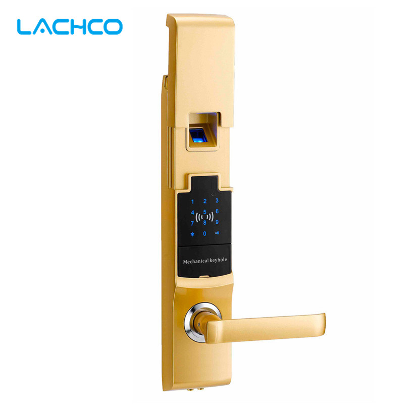 LACHCO Fingerprint Smart Door Lock Digital Touch Screen  Password Keypad Access Control Card Intelligent Security SL16081SG biometric face and fingerprint access controller tcp ip zk multibio700 facial time attendance and door security control system