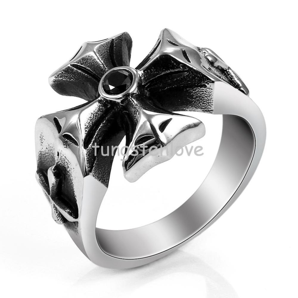 Aliexpress : Buy Gothic Punk Style Stainless Steel Biker Cross Ring  With Black Cz For Men Engagement Wedding Band, Black Silver From Reliable  Cz