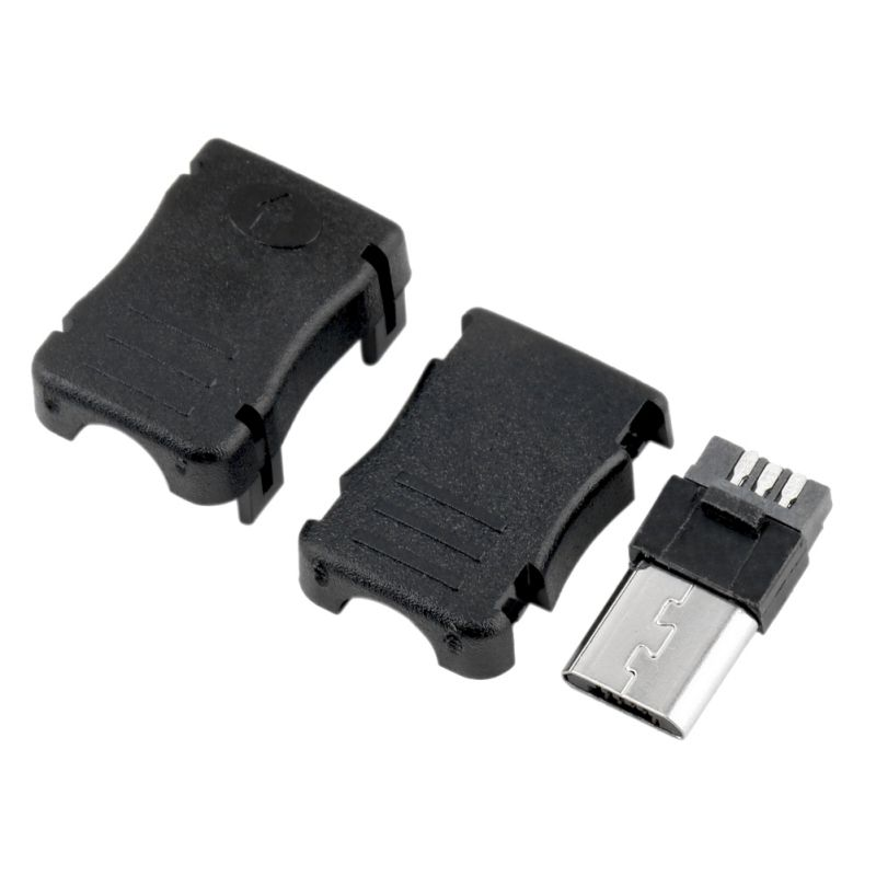 10pcs Micro USB 5 Pin T Port Male Plug Socket Connector&Plastic Cover for DIY 50pcs micro usb 5 pin t port male plug socket connector