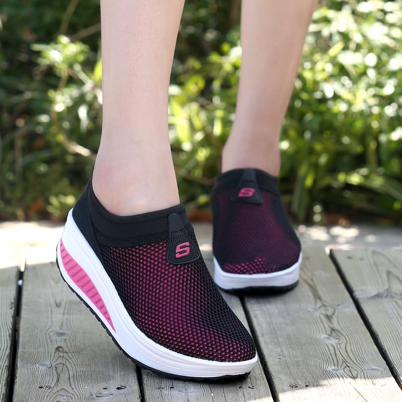 2016 Verano Zapatos Mujeres Causal Zapatos Moda Caminar Pisos Altura - Zapatos de mujer - foto 6