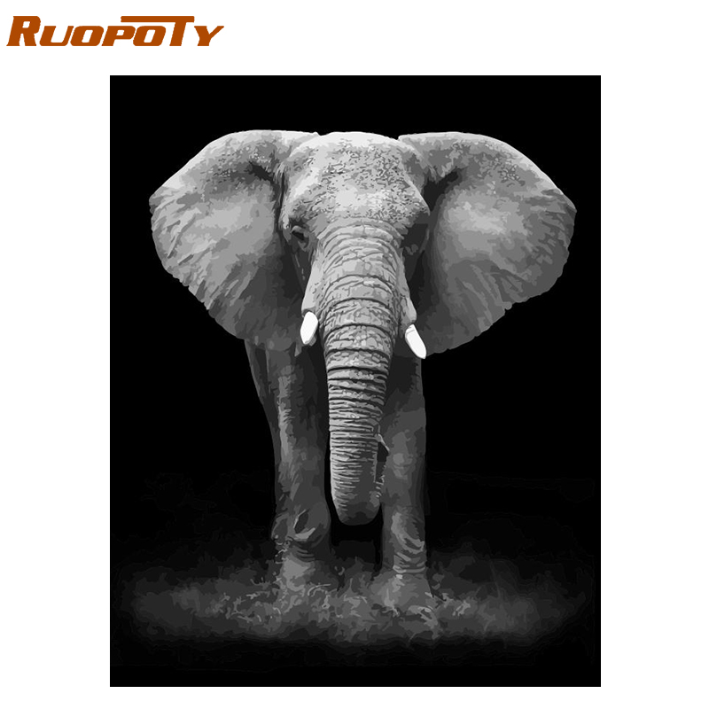 RUOPOTY Frame Elephant Diy Painting By Numbers Handpainted Oil Painting Animals Calligraphy Painting For Living Room Home Decors