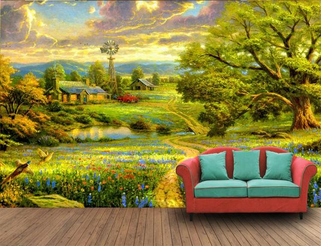 3d ruang wallpaper kustom mural non woven wall sticker 3d pedesaan