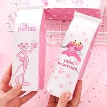New Creative Leather Funny Panther Pen Case Pink Milk Box Style Pencil Bag Pouch for Girls Students Stationery Gifts