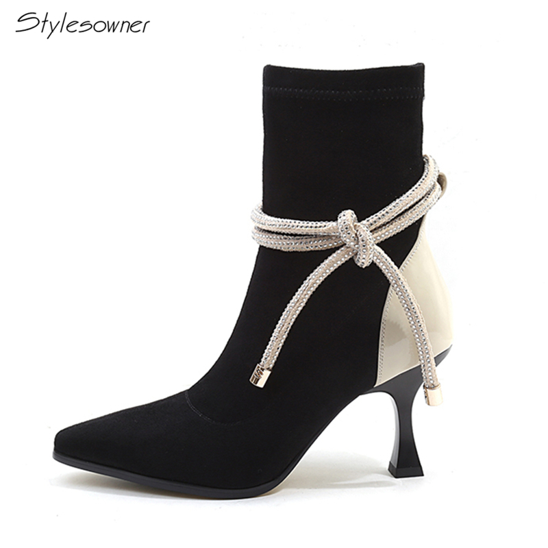 Stylesowner Patchwork Women Ankle Heels Boots Sexy Laces Elastic Stretch Sock Boots Butterfly Knot Ladies Laces High Heel Boots