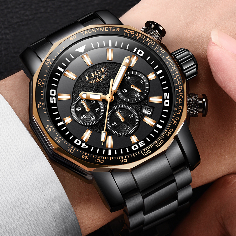 LIGE Men Watch Top Brand Luxury Fashion Quartz Clock Men's All Steel Waterproof Big Dial Military Sport Watchs Relogio Masculino