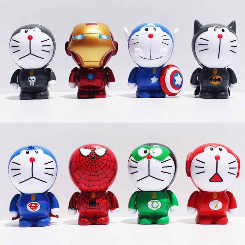 New Superheroes The Doraemon Cosplay Batman Green Lantern The Flash Spider Man Captain America PVC Figure Model Toys