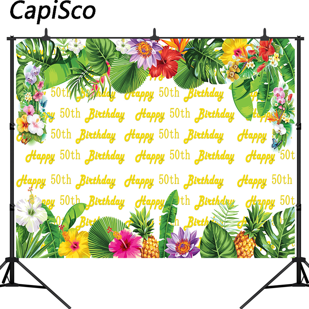 Capisco <font><b>Happy</b></font> <font><b>50th</b></font> <font><b>Birthday</b></font> Party photography <font><b>backdrops</b></font> Printed tropical style flowers Fruits Custom Photo Booth Background image
