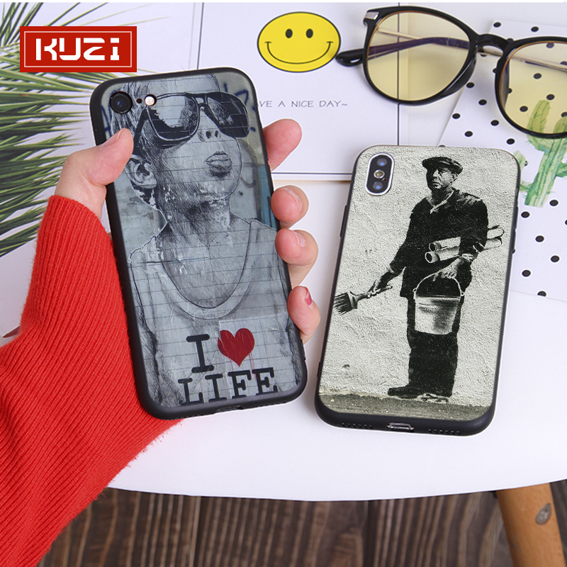 KUZI Street Art Cool Case for Iphone X XS 8 7 6 6s Plus TPU Silicone Coque IPhone Cover Fundas