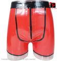 Red Black Trim Pouch Front Zipper Fly Sexy Latex underwear Hotpants Rubber Long Leg Boxer Shorts Bermuda Hot pant