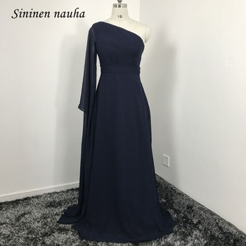 One Shoulder Evening Party Dresses Long Sleeves A Line Chiffon Plus Size Formal Dress Vestidos De Festa Robe De Soiree 128