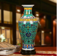 H46cm Tall Chinese Enameled Porcelain Ceramic Vase With Antique Qing YongZheng Mark