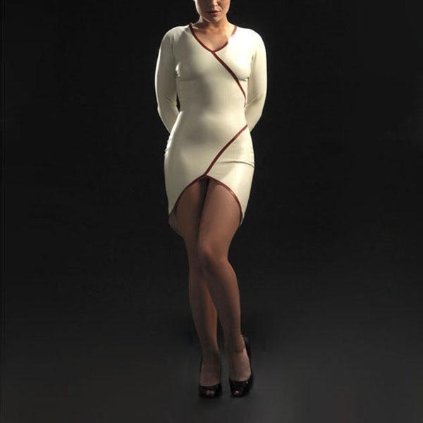Белое латексное платье, сексуальные костюмы, латексные резиновые Облегающие юбки с молнией сзади