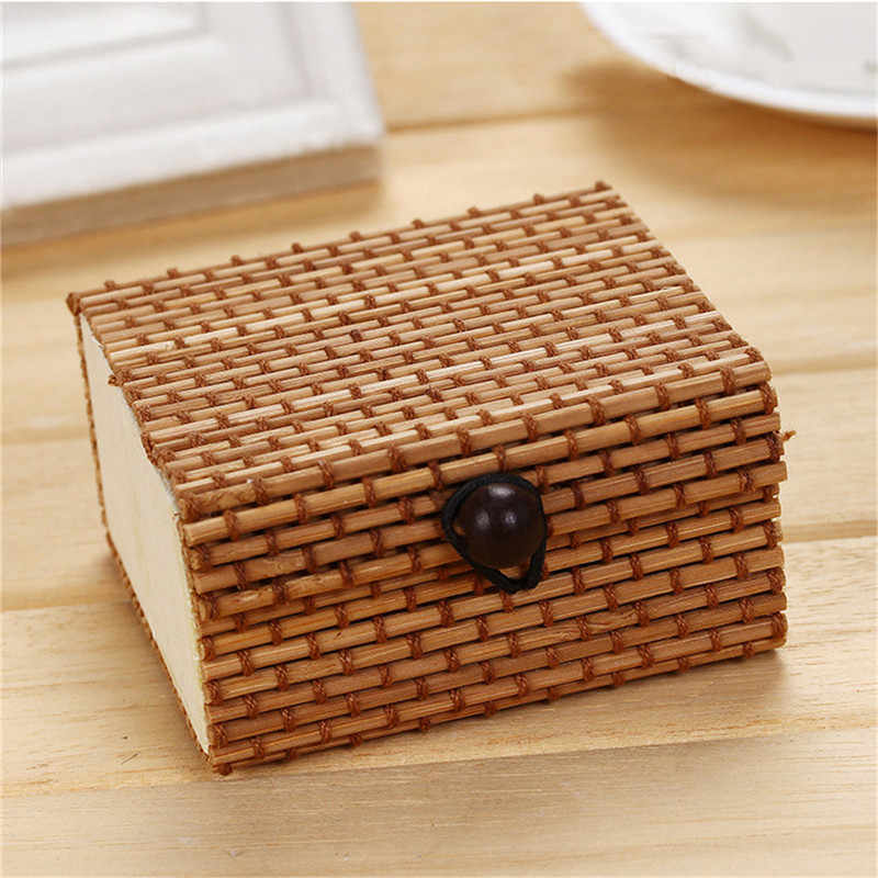 Tenske 2019 Penyelenggara 1 PC Bambu Kayu Perhiasan Organizer Penyimpanan Kotak Sederhana Tali Kerajinan Multicolor Square Case Hadiah Drop #0518