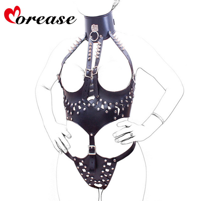 Morease Sexy black leotard slave bdsm erotic fetish bondage collar and leather Set Punk rivet Adult Game Sex toys sexo for Women r12 sexy game