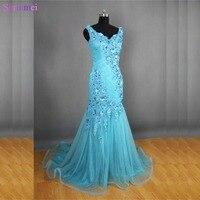 Hoge Kwaliteit Handgemaakte Bloem Mint Tiffany Blue Mermaid Avondjurken V Terug Tulle Lange Prom Jurken