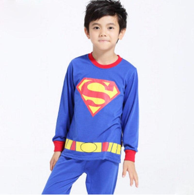 Autumn Winter Kids Costumes Cosplay Superman Spiderman Batman American captain Iron Man For Boy Girl Pyjamas The Avengers Sleepw