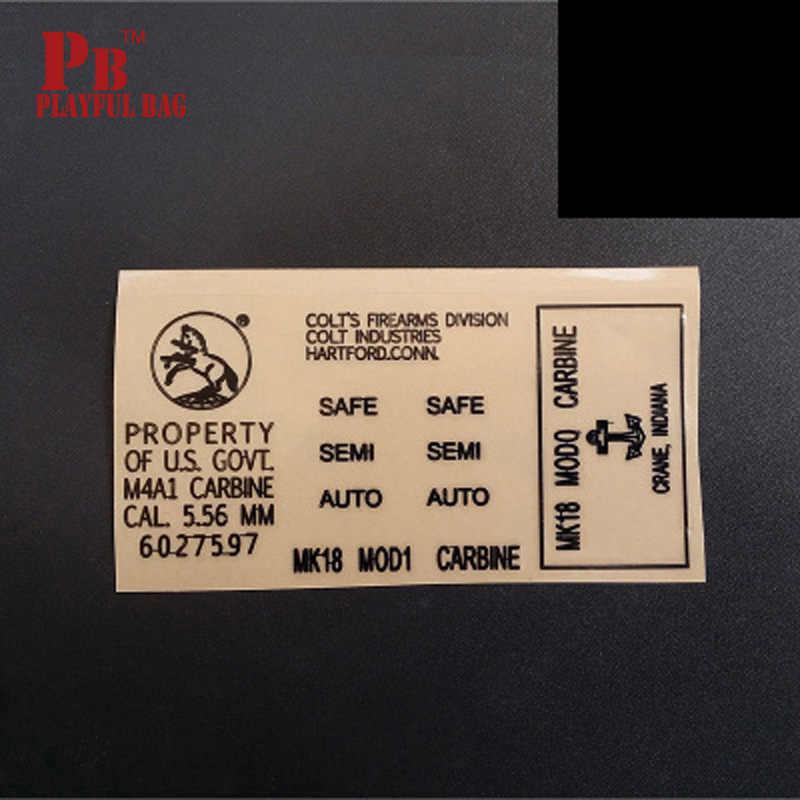 Pb لعوب حقيبة هلام الكرة m4a1 البنادق ل jinming/haowei MK18 diy المعادن ملصقا.