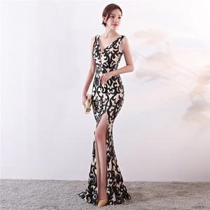Image 4 - It S YiiyaชุดราตรีSequined Vคอซิปด้านหลังMermaid Party Gowns Royal Backlessความยาวทรัมเป็ตชุดราตรีc181