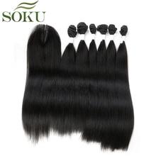 SOKU синтетические волосы пряди с закрытием 7 шт./упак. 14-18 дюймов яки пучки прямых и волнистых волос