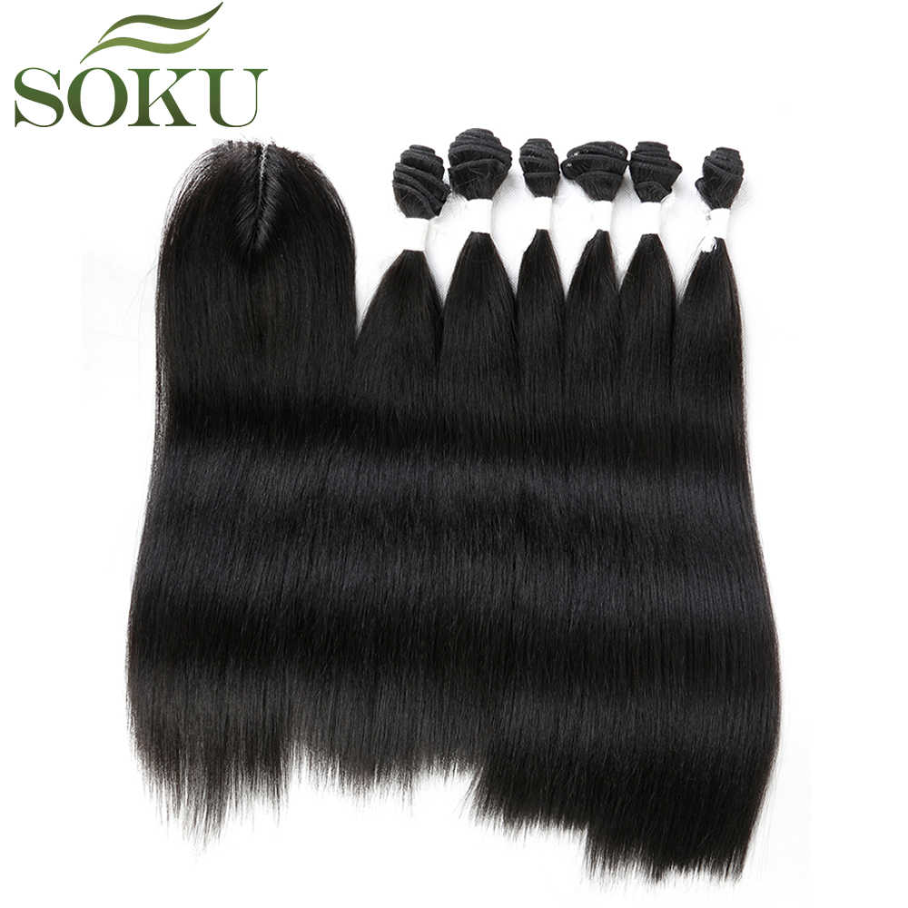 SOKU Synthetic Hair Bundles With Closure 7pieces/pack 14-18 inch Yaki Straight Hair Weave Bundles Free Shipping