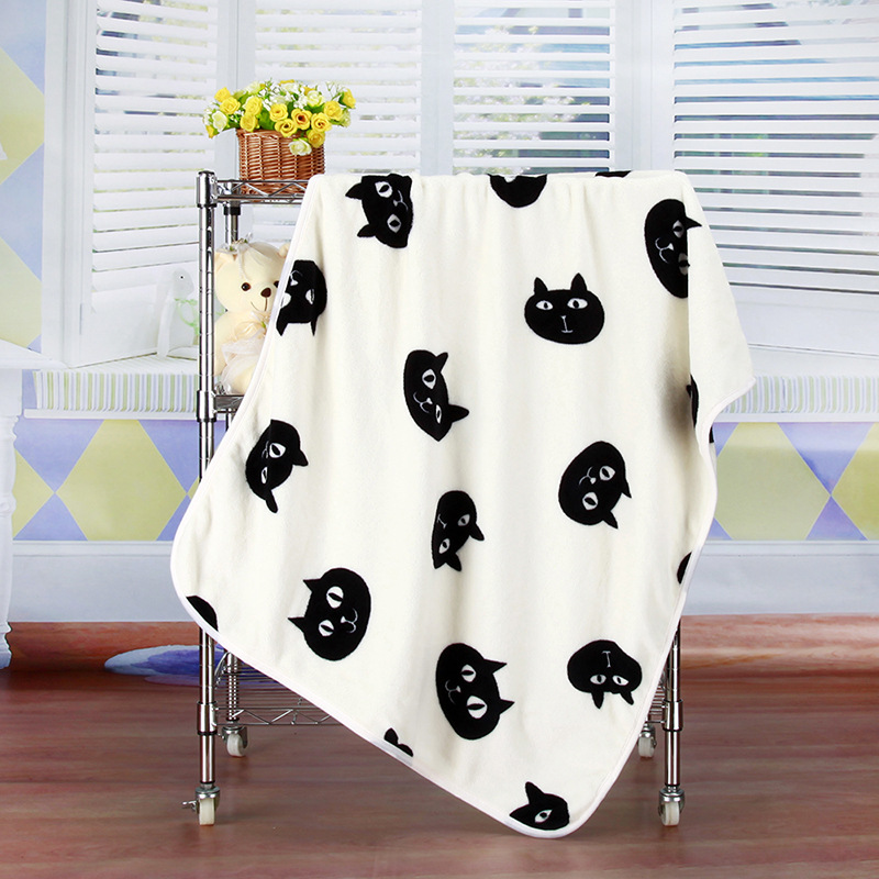 Baby Blankets Baby Warm Cute Cat Pattern Soft Coral Fleece ...