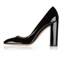 Ladies Womens Handmade Round Toe 100mm High Heel Slip On Block Heel Pumps Party Office Cozy Chunky Heels Dress Shoes Thick Heels