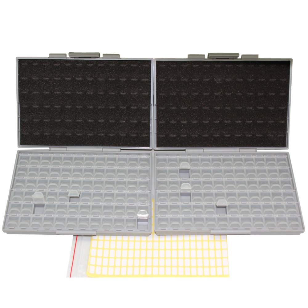 AideTek 2 Empty BOX-ALL-72 Enclosures Boxes 4 SMD SMT Resistor Capacitor Organizer 0603 plastic part box lables 2BOXALL72  20pcs smd to dip 0805 0603 0402 smt to dip capacitor resistor led smt pinboard pcb 2 54pin pitch fr 4