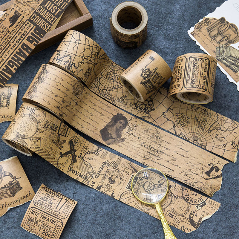 Vintage Retro Stamp Washi Tape Creative DIY Kraft Paper Decorative Tape For Home Decoration Diary Student