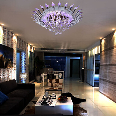 New Semi Flush Mount Modern Crystal Ceiling Lighting With Remote Control G4 Bulb Base Purple Lustres De Teto In Lights From