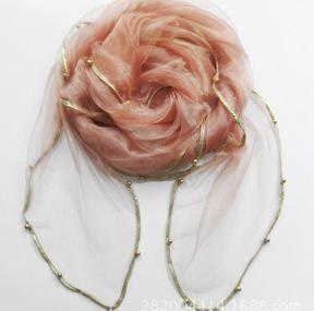 Женский летний Одноцветный полосатый шарф из органзы, украшенный бисером, женский весенний золотой ободок, длинный бисер, тонкая мягкая шаль - Цвет: 3
