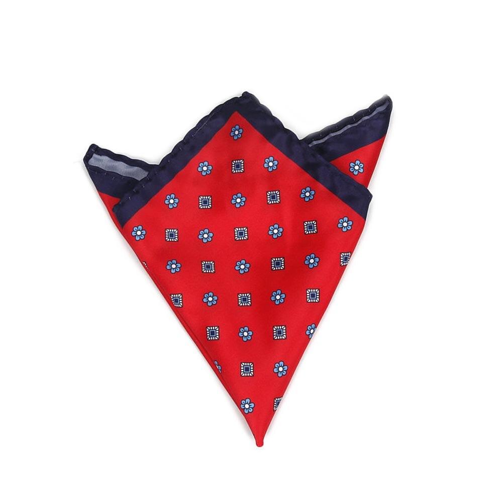 Men Handkerchief Floral Printed Hankies Polyester Hanky Business Pocket Square Chest Towel 24 X 24cm AIC88