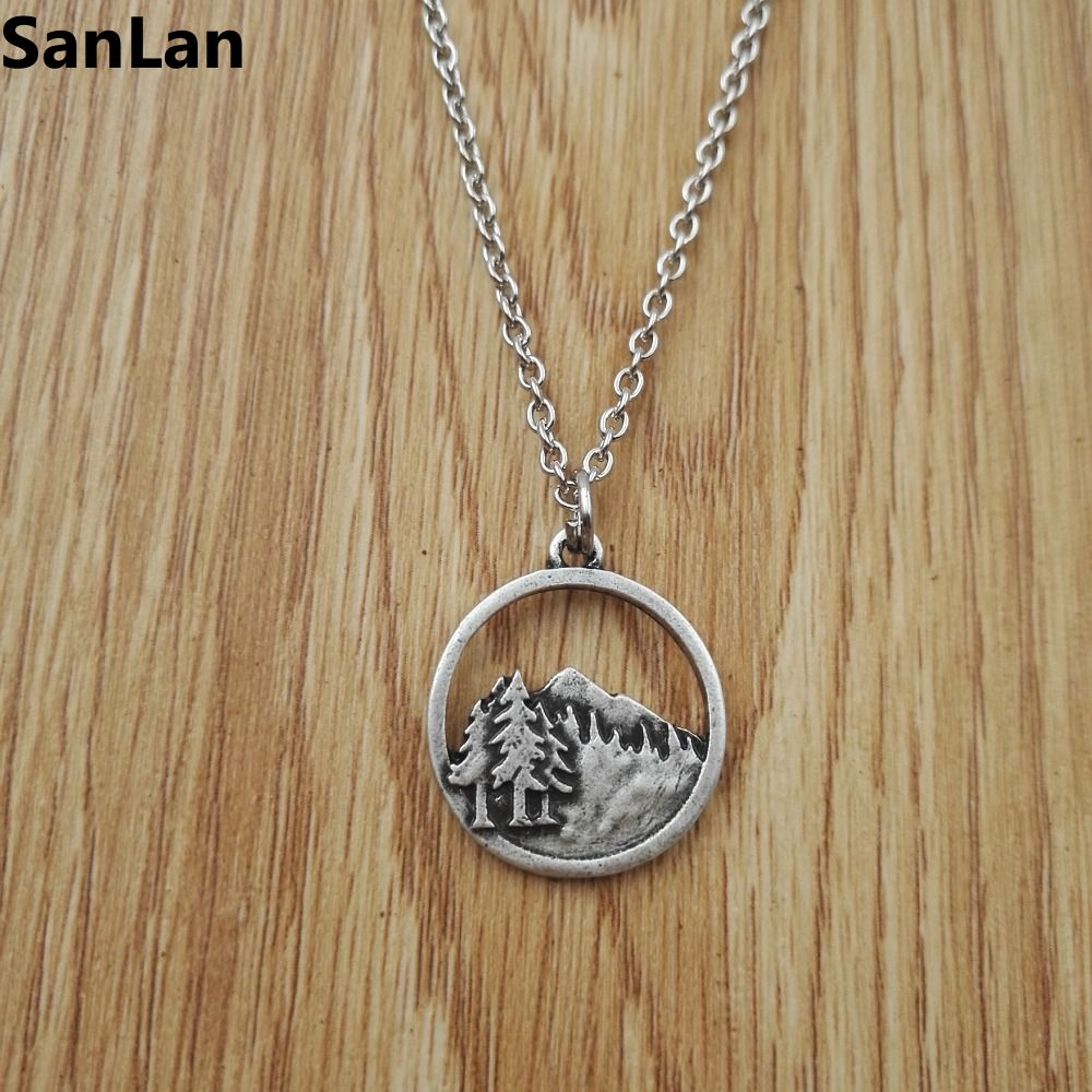 new necklaces pendants antique silver plated pine tree. Black Bedroom Furniture Sets. Home Design Ideas