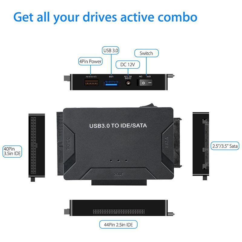EastVita IDE & SATA To USB 3.0 Converter External Hard Drive Adapter With Three Hard Disk Drives 1 Drive 3 500MB/S EU US R20