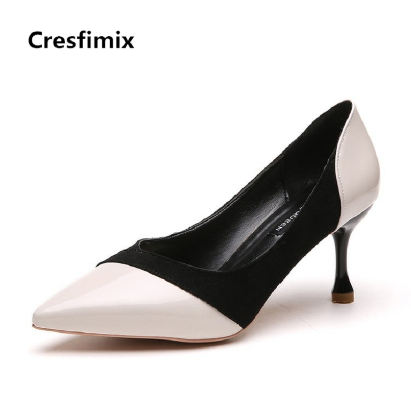 Cresfimix women fashion sexy black & white pu leather high heels lady cute party 7cm high heel shoes female comfortable shoes women high quality pu leather waterproof platform shoes lady cute and sexy party slip on pumps female office high heel shoes