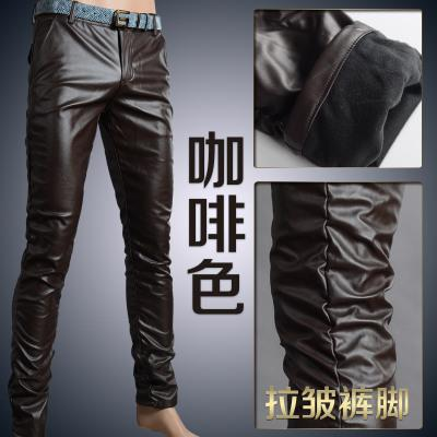 Мотоцикл Клуб Плотно Искусственной Кожаные Штаны Мужчины Горячая Мужская Мода брюки Для Мотоциклов Танцевальные Брюки Для Мужчин Hip Hop Мужчины Брюки - Цвет: coffee wrinkle
