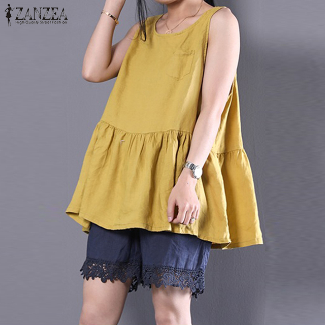6146487ea4f Plus Size ZANZEA Summer Women O Neck Sleeveless Casual Cotton Linen Tanks  Top Loose Ruffles Vest Shirt Solid Party Beach Blusas