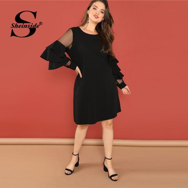 Sheinside Black Plus Size Tunic Midi Dress Women Sheer Mesh Insert Ruffle Trim Dresses 2018 Ladies Layered Sleeve Elegant Dress 4