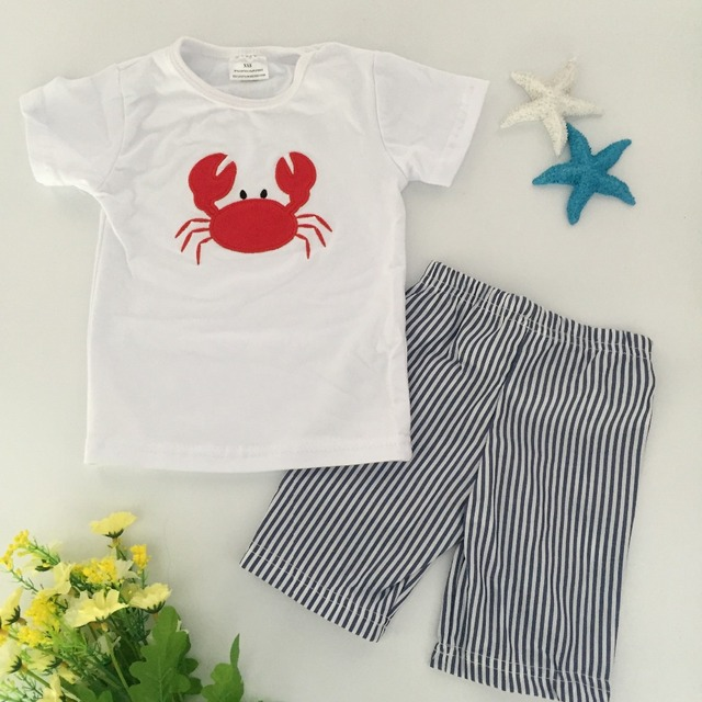 baby clothes  new boy sets white and red crab  boutique stripes shorts outfit cute  summer clothes  ningbo baby kids wear firm