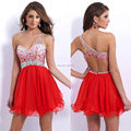 Vestido De Renda 2015 New Fashion Beaded Red Chiffon Cocktail Dress Backless  Short Crystal  Homecoming Prom Dress Party Dresses