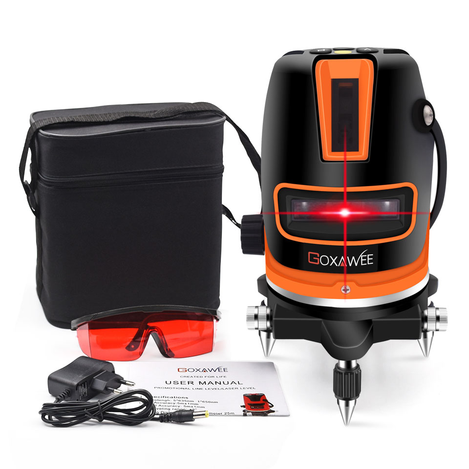 GOXAWEE 5 Lines 6 Points Laser Level Automatic Self Leveling 360 Vertical Horizontal Tilt Outdoor Mode